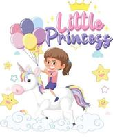 Little girl riding pegasus with little princess font on white background vector