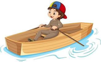 personaje de dibujos animados de niña remando el bote aislado vector