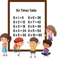 Six Times Table with many kids cartoon character vector