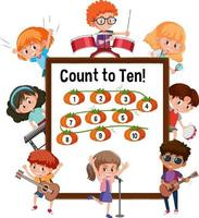 Count to ten number board with many kids cartoon character