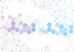 Estructuras moleculares hexagonales abstractas en tecnología y estilo científico. diseño médico. ilustración vectorial