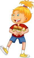 Happy girl cartoon character hugging food sandwich vector