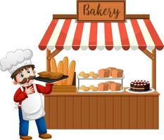 Delante de la panadería con Baker aislado sobre fondo blanco. vector