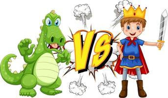 Dragon and knight fighting each other on white background vector