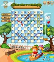 Snake Ladder game in the park theme vector