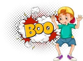 BOO word on bomb explosion with a boy cartoon character isolated