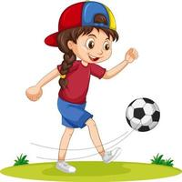 Cute girl playing football cartoon character isolated vector