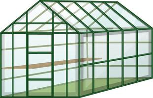 Invernadero vacío con pared de vidrio sobre fondo blanco. vector