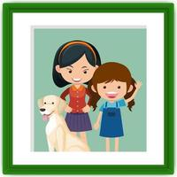 Two little girls in a photo frame in cartoon style vector