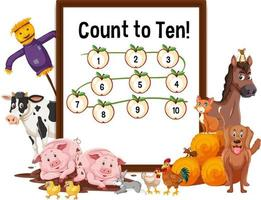 Count to Ten board with farm animals vector