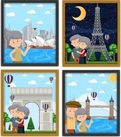 Cute old couple photo frames isolated vector