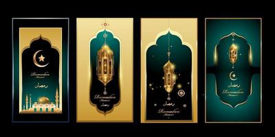 Ramadan Kareem in green and gold color with lantern and mosque illustration for banner, greeting, and social media vector