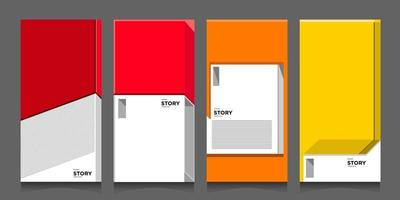 Vector abstract modern minimalist geometric architecture in red, orange, and yellow for banner and poster background template