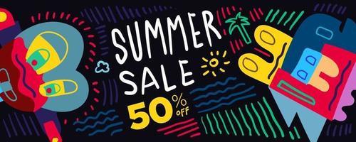 Summer Sale discount Colorful Poster and Banner. Promotion banner discount voucher template special offer market brochure. Vector doodle illustration set for summer sales.