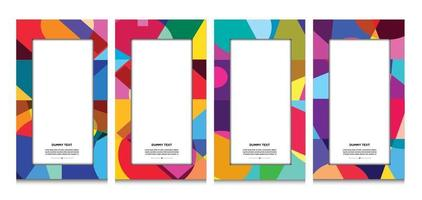Vector colorful geometric curve frame and border background for Summer
