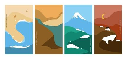 Landscape pattern vector with Japanese wave pattern. Abstract background. Mountain template.