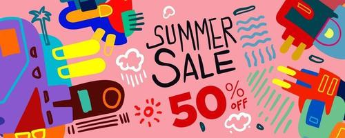 Summer Sale discount Colorful Poster and Banner vector