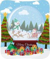 fuente de feliz navidad con santa claus en un trineo en la escena de nieve vector