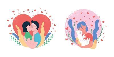 Love flat concept vector illustration set. Boyfriend, girlfriend. Pet owner hugging cat.