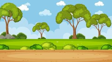 Blank sky in the park scene with many trees vector