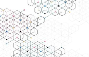 Abstract geometric boxes pattern dot line connection background. Modern technology with square mesh. Geometric on white background with lines. Cube cell. Vector illustration