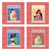 Happy family in home window flat color vector illustration set
