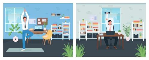 Workout in workplace flat color vector illustration set