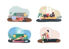 Home office gym 2D vector web banner, poster set
