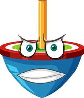 Spinning top cartoon character with facial expression vector