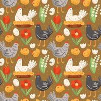 Poultry farm pattern with hen, chicken, egg, nest and flowers. Seamless pattern, texture, background. Packaging design. vector