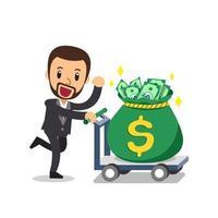 Cartoon vector businessman pushing big money bag