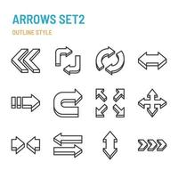 3d arrows in outline icon and symbol set vector