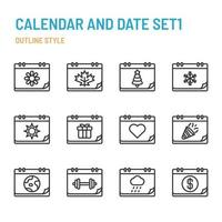 Calendar and Date in outline icon and symbol set vector