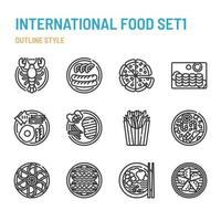 International cuisine in outline icon and symbol set vector