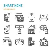 Smart Home related in outline icon and symbol set vector