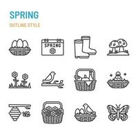 Spring season in outline icon and symbol set vector