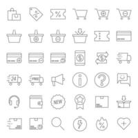 Outline E-commerce Icons vector