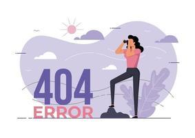 mujer mirando a través de binoculares. error 404 vector
