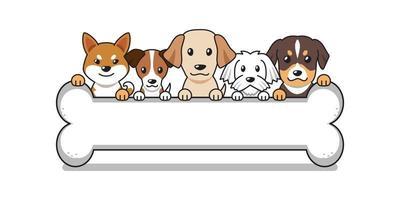 Vector cartoon cute dogs with big bone