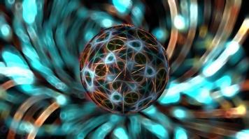 una esfera giratoria sobre un fondo luminoso