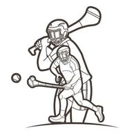 Hurling Sport Men Players Action Outline Poses vector