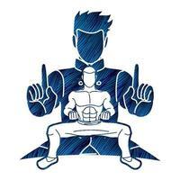 luchador de kung fu artes marciales poses de acción vector