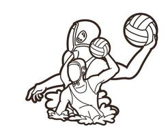 Water Polo Players Outline