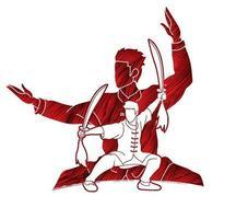 luchador de kung fu, artes marciales, con, espadas, acción vector