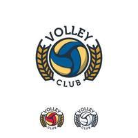 Plantilla de vector de insignia de diseños de logotipo de deporte de voleibol, logotipo de insignia de deporte aislado profesional