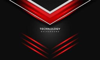 3D Overlap layers effect with red color light decoration. modern technology design template. vector