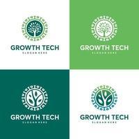 conjunto de plantilla de logotipo de tecnología de naturaleza, concepto de logotipo de tecnología verde, tecnología de crecimiento, símbolo de logotipo de árbol tecnológico
