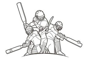 Cricket Players Action Outline vector