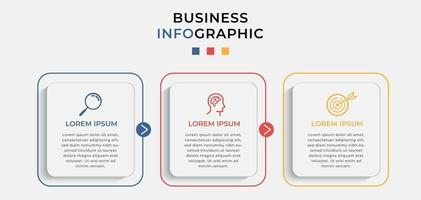 Minimal Business Infographics template. Timeline with 3 steps, options and marketing icons vector
