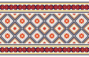 Ethnic boho pattern with flowers in bright colors. Design for carpet, wallpaper, clothing, wrapping, batik, fabric, Vector illustration embroidery style in Ethnic themes.